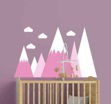 Mountain wall decal which features an image of 6 mountains with clouds on top, coloured in lovely shades of pink and white.