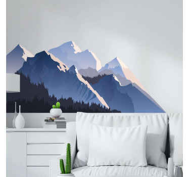 Mountain wall decal which features a stunning image of a group of mountains covered in snow with a forest in front. Extremely long-lasting material.