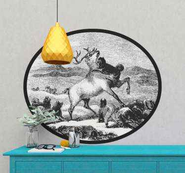 Wall sticker with the design of a Swiss forest landscape and a black and white deer, which will give an exclusive, unique touch to your home.