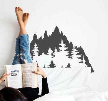 Silhuett skissartad berg ritning vinyl dekal. Designen visar ett naturlandskap av berg med vegetationer. Färgen är anpassningsbar.