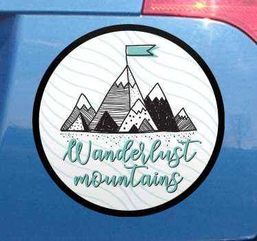 Dizajn za ljubitelje avantura i planinskih tura. Naljepnica planina lutanja koja prikazuje visoke planine u različitim visinama.