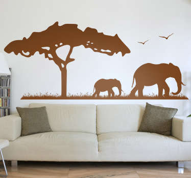 An elephant wall sticker illustrating a family in Savannah enjoying their freedom and natural habitat.