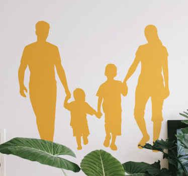 壁や家具の幸せな家族イラストホームステッカー。デザインは、2人の子供を抱く男性と女性のシルエットをホストしています。
