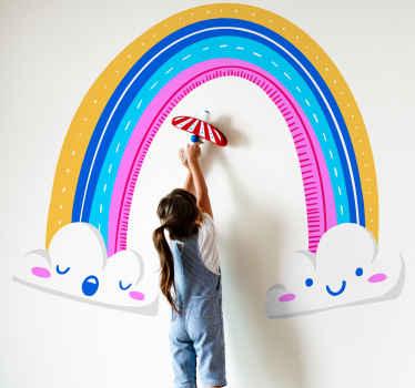 Ilumine la habitación de sus hijos con un efecto colorido y divertido usando este vinilo para niños de arco iris en nubes ¡Envío exprés!