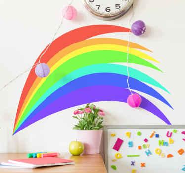 Vinilo para niños con dibujo de arco iris de colores agradable para el lugar del dormitorio de los niños. Es personalizable en cualquier tamaño