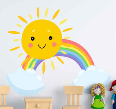 Brilliant and interesting children looking space fantasy wall decal illustrated with a happy rainbow and cloud design. Available in any size you want.