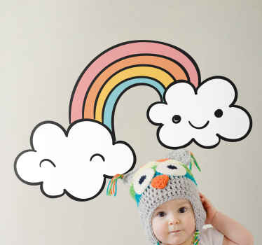 Bonito vinilo para niños de fantasía con arcoíris y nubes para la decoración de la habitación de sus hijos ¡Envío exprés a domicilio!