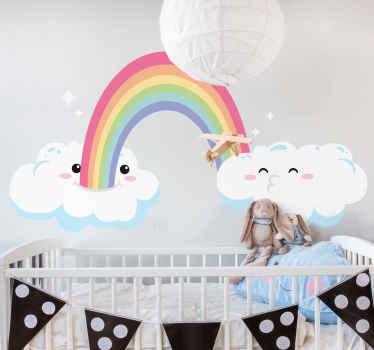 Vinilo para niños de arco iris y nube con caras felices para dormitorio infantil. Es duradero, adhesivo, fácil de aplicar y extraíble.