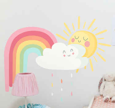 Am amazing illustration wall sticker of happy sun and rainbow that you can use to customize the bedroom of your kid. Original and durable.