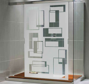 Rectangular Pattern Shower Glass Sticker