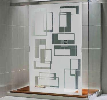 Dikdörtgen desenli duş camı etiketi