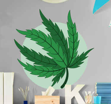 Large cannabis leaf plant wall sticker for home decoration, office, business, lounge, etc. The size is customizable, it is easy to apply and durable.