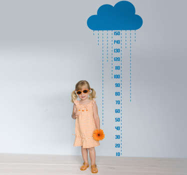 Keep on top of your child's growth with this rainy cloud height chart decal from our collection of cloud wall stickers for children.