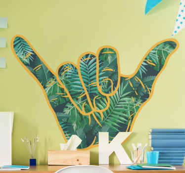 Shanka hand sign wall decal created with leave pattern.. The product is durable, adhesive and r=easy to apply on all flat surfaces.
