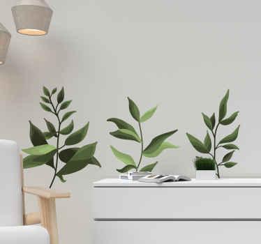 Vinilo de planta verde pintado de aspecto realista para crear un efecto de planta relajante en cualquier lugar de una casa u oficina.
