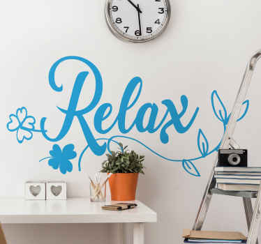 Our original customizable colour leaf plant wall decal with relax text inscription  got you covered for a more simple but elegant decoration.