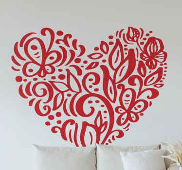 Bella decalcomania in vinile ornamentale amore calore dalla nostra collezione di bellissime sticker amore. Questo disegno comprende varie foglie.