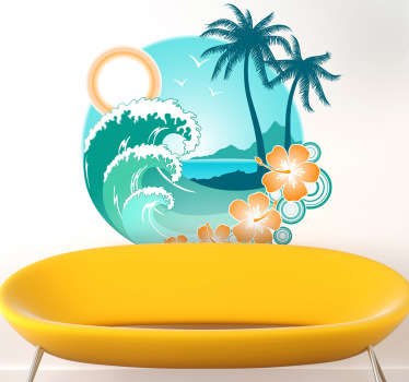 Colourful and warm illustration of an exotic beach, from our collection of beach wall stickers. Add a touch of a tropical summer to your those blank walls at home and take yourself back to those exotic beaches of your holiday.