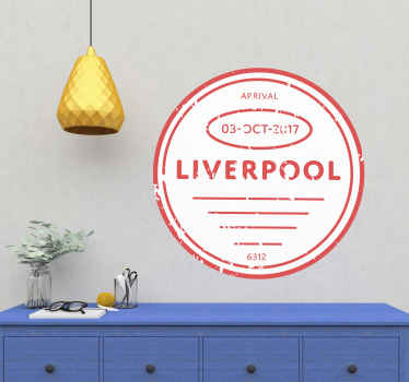Decorative Liverpool England stamp country sticker. Sticker for lovers of this club, it is easy to apply on any flat wall surface.
