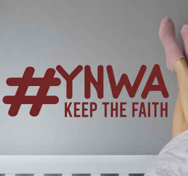 YNWA Keep the Faith Liverpool country sticker. Beautify and space of your interest as a fan, supporter or player of Liverpool. Available in any size.