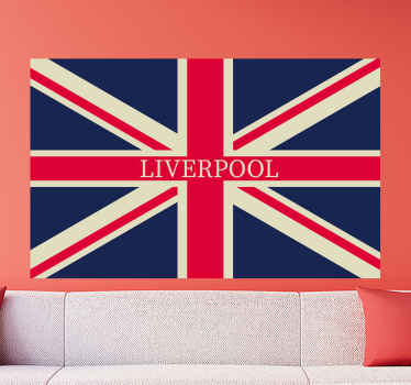 Liverpool football sport logo deal represented in England flag. An amazing design for supporters, fans and players in Liverpool club.