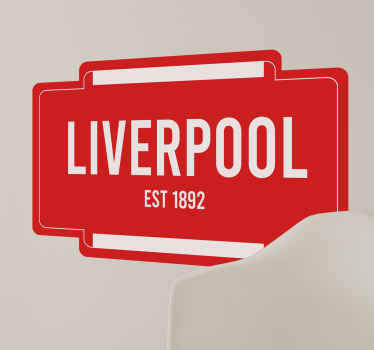 Liverpool Est.1892 football wall sticker from our collection of Liverpool football sport decal. It is available in any size required.
