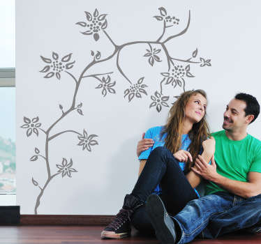 꽃 줄기 나무 벽 스티커