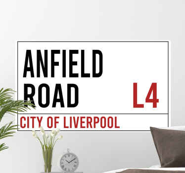Anfield Road Liverpool football wall sticker to decorate any space of your choice as a fan or supporter of Liverpool. It is available in any size.