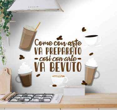 Decalcomania di bevanda al caffè dall'aspetto incantevole contenente vari tipi di bevanda al caffè con frase di proverbio.