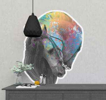 Spanish Andalusia horse animal wall sticker - The  horse head design is depicted to be an Andalusia horse breed and it is painted in splatter.