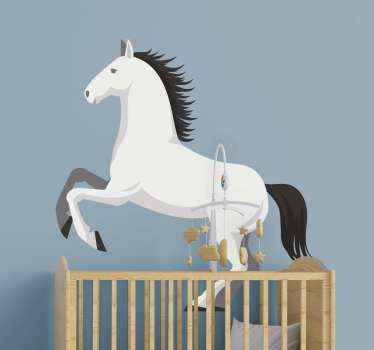 Beautiful horse decal illustration of a pure white Spanish breed. The PRE Spanish horse decal is illustrated to be galloping in full speed.