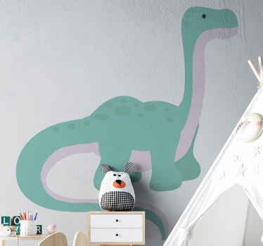 A self adhesive  dinosaur wall decal illustrating a brontosaurus genus of dinosaur. Customizable in any size and easy to apply.