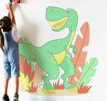 Happy t-rex artistic wall sticker illustrated in a forest to beautify the room of a kids. Nice for bedroom, playroom and for nursery space.