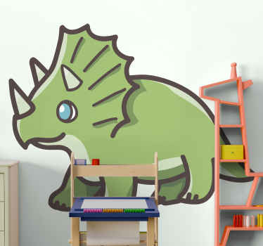Cute cartoon dinosaur decorative sticker for children bedroom and other spaces. The dinosaur depicts a triceratops dinosaur.