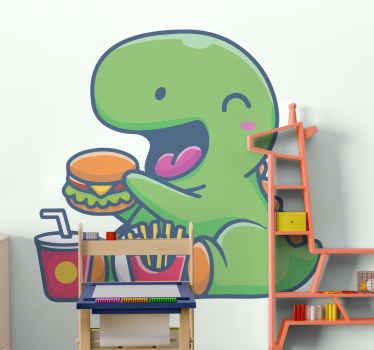 Vinilo de dinosaurio para dormitorio infantil con un dinosaurio comiendo hamburguesa. Es duradero, adhesivo y fácil de aplicar.