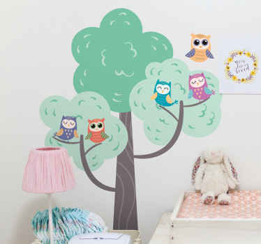 Interesting and colorful illustration wall decal of different owl birds on tree branch. The design is beautiful and nice for children bedroom space.