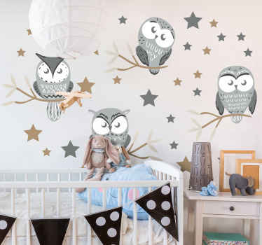Beautiful illustration sticker of different owls on tree branches with present of stars. The design is printed with quality vinyl and easy to apply.