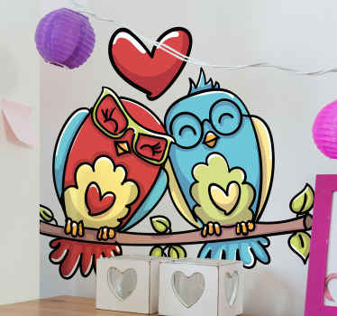 Two owl bird wall sticker illustrated to be couple birds sitting on a tree branch with hearts shape. The product is original and durable.
