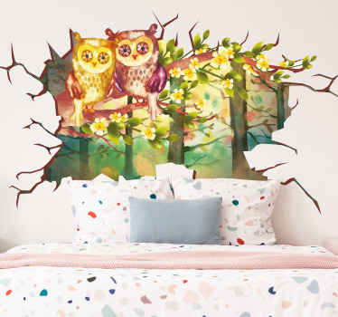 Owl birds wall decal illustrated on a natural landscape in water colour. The design is created on background depicting a broken wall.