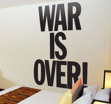 Lyrics wall sticker of the famous song by John Lennon and Yoko Ono, 'War is Over'. A great text decal for those big fans of John Lennon.