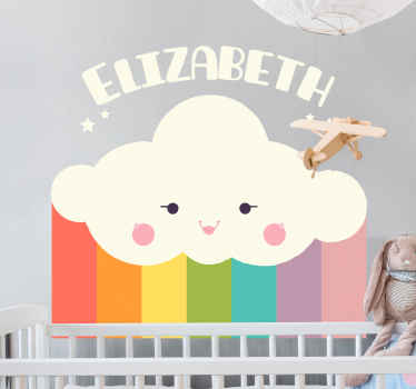 A rainbow sticker with a smiling white cloud and customizable name, so you can identify the room in a colorful, cute, and fun way.