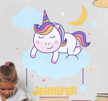 Personalised sticker wirth unicorn sleeping on a cloud and a moon in the background that also includes a customizable name.