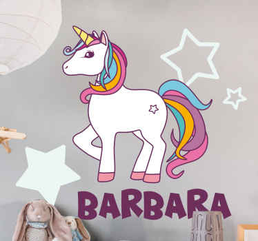 Animal sticker with the illustration of a unicorn with white star background with customizable name, perfect for applying to your child's room.