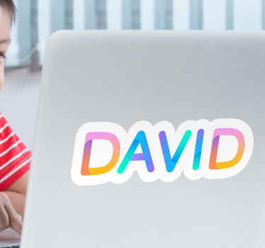 Lovely decorative laptop decal of customized name in rainbow colour. Easy to apply, made from quality vinyl, adhesive and durable.