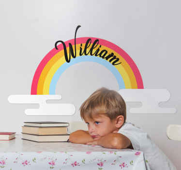Make the space of your little one cute and fun with this colorful illustrative rainbow decal customizable with name. It is original and durable.
