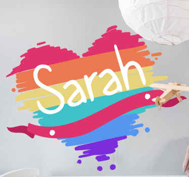Personalisable name rainbow trees vinyl decal created in heart shape. It is durable and easy to apply. Available in various sizes.