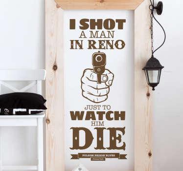 Folsom Prison Lyrics Sticker