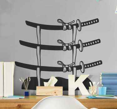 If you love the Japanese swords then you can decorate your space with this samurai sword object sticker with it stand. Easy to apply and durable.