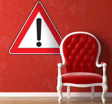 A sign sticker of a triangle with an exclamation symbol to alert people to be cautious on the highway. A very practical wall sticker to use at work if there is any refurbishment going on or perfect to use as a stylish decal and give your home the look you want!