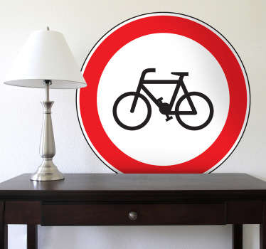 Room Stickers - Highway Code - No Cycling road sign. Select a size that suits you.